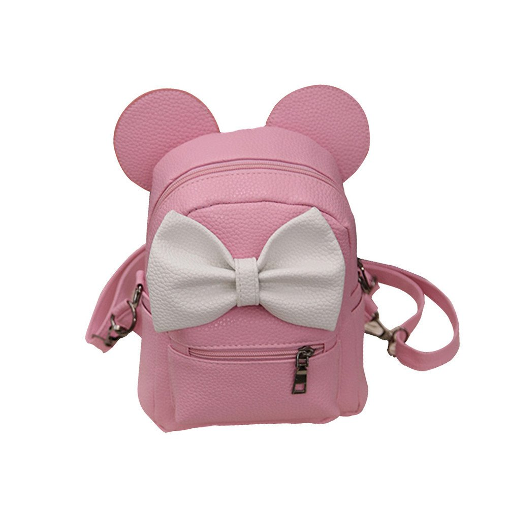 vermers Women's Backpack Backpack Bow Tie Mickey Backpack Female Mini Bag(Pink)