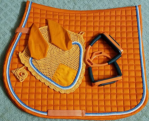 Orange Horse English Saddle Pad with Matching Flexible Safety Stirrups Bendy Iron Fly Bonnet Veil Ear Net Double Piping Full/Horse Size Cotton Hand Made Tack Equestrian Horse Shows