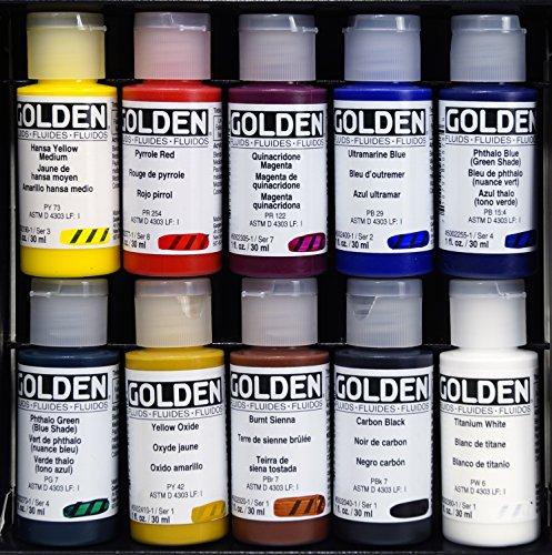 Acrílico fluido Golden,30ml, juego de 10, colores surtido