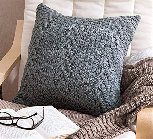 (Awishwill Cotton Knitted Pillow Case Decorative Cushion Cover Cable Knitting Patterns Square Warm Throw Pillow Covers (Grey, 18