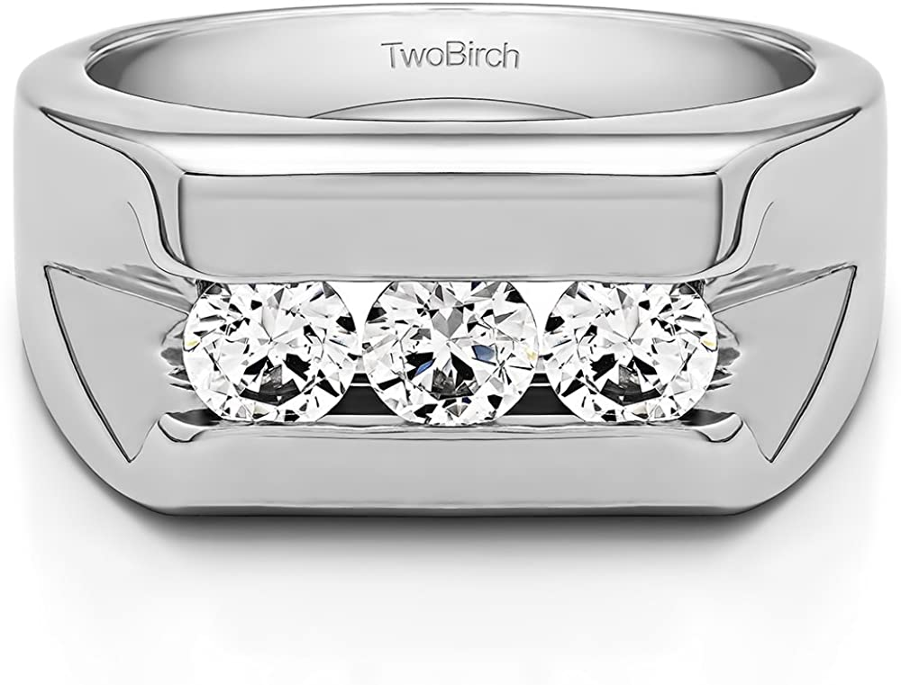 1 ct. tw. TwoBirch Sterling Silver Unique Mens Ring or Unique Mens Fashion Ring with Cubic Zirconia