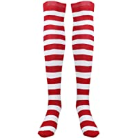 BESTOYARD Christmas Red White Stockings Thigh High Striped Over Knee Socks for Women Girls - Free Size