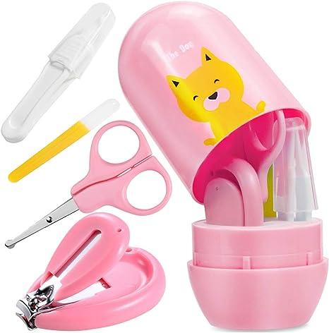 O-Kinee Kit de Uñas de Bebé Cortauñas Conjunto 4pcs kit de Aseo del Bebé Cuidado para Bebés Incluye Cortauñas Tijeras Pinzas Limas de Uñas,para Niños Recién nacido (Rosa): Amazon.es: Bebé