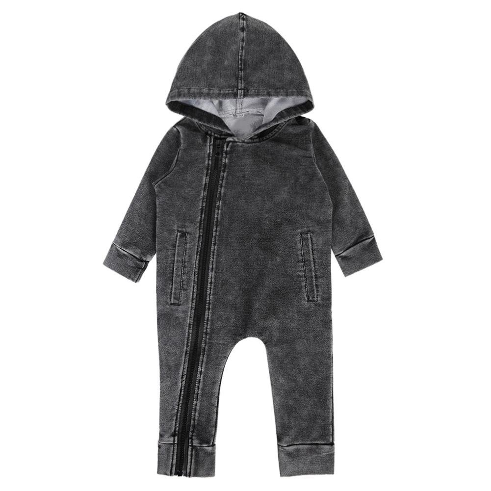 44f9ea6ef490 Chinatera Baby Boy s Denim Long Sleeve Hoodie Rompers Outfit One ...