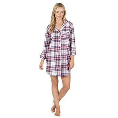 75ecbf5e66 Forever Dreaming Womens Flannel Nightshirt - 100% Cotton Checked Button up  Nightie