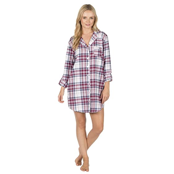 Forever Dreaming Womens Flannel Nightshirt - 100% Cotton Checked ...
