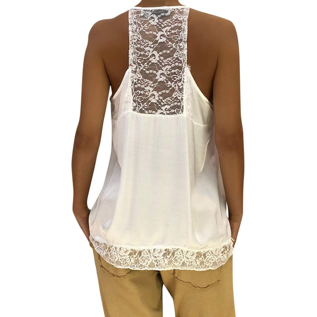NUWFOR Women Ladies Solid Sexy Lace Patchwork Insert V-Neck Sling Loose Tank Top Blouse(White,US XS Bust:31.4'') by NUWFOR (Image #2)