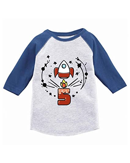 814c7431b Awkward Styles Birthday Gift for 5 Year Old Kids Toddler Raglan Rocket  Space Shirts Blue 2T