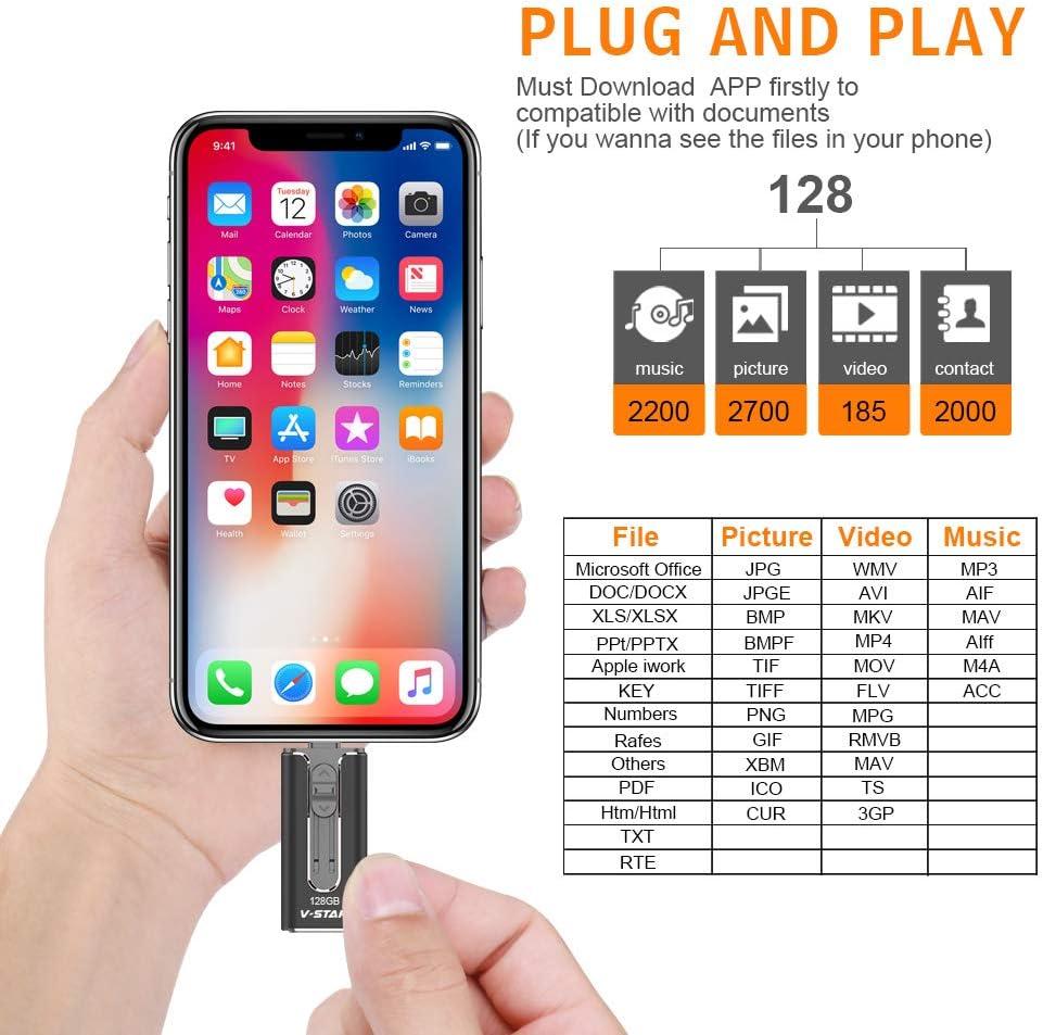 Jump Drive Compatible for iPhone iPad iPod Mac Android Phone PC Laptop 3.0 Photo Stick USB Memory Stick External Storage Pen Drive High Speed Thumb Drive USB Flash Drive 128GB Black