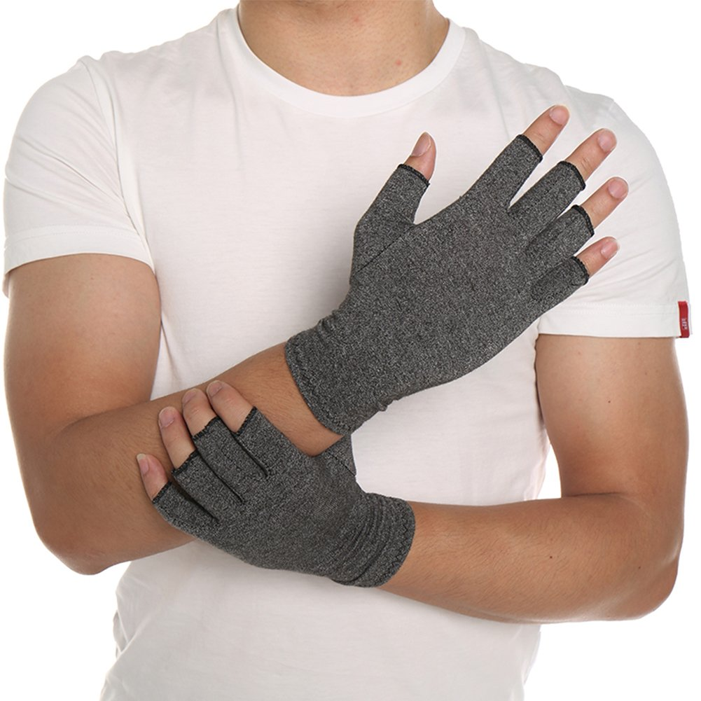 Cotton Elastic Soft Black Gray Half Finger Outdoor Sport Gloves Relieve Pain New