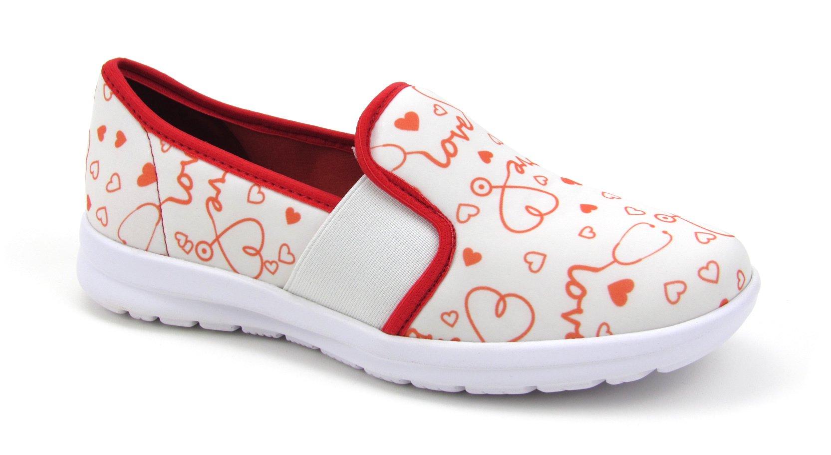 Sunny Women's Cute Memory Foam Elastic Gore Nursing Shoes - Printed - Florence (9, Stetho Love White)