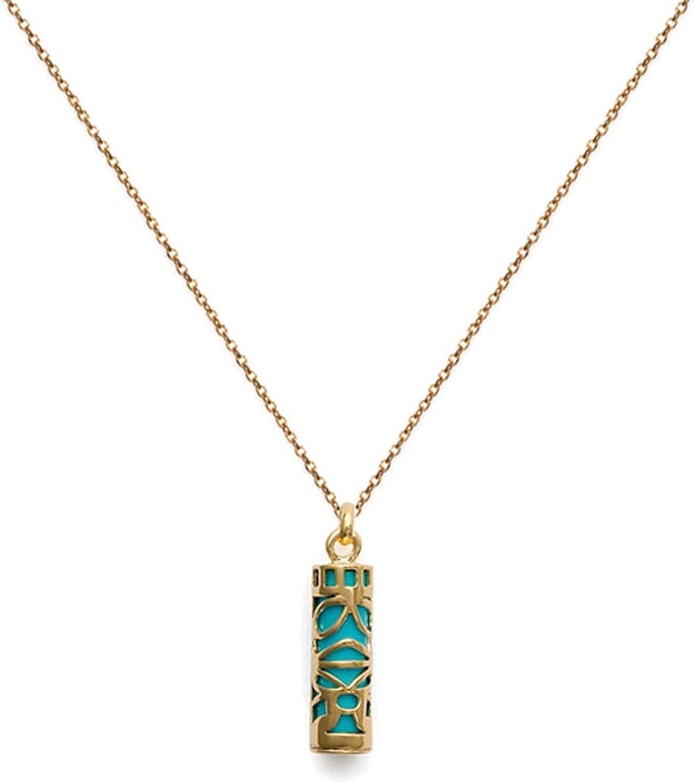 Pendentif Tiki Polyn/ésien Plaqu/é Or et imitation Turquoise Neuf