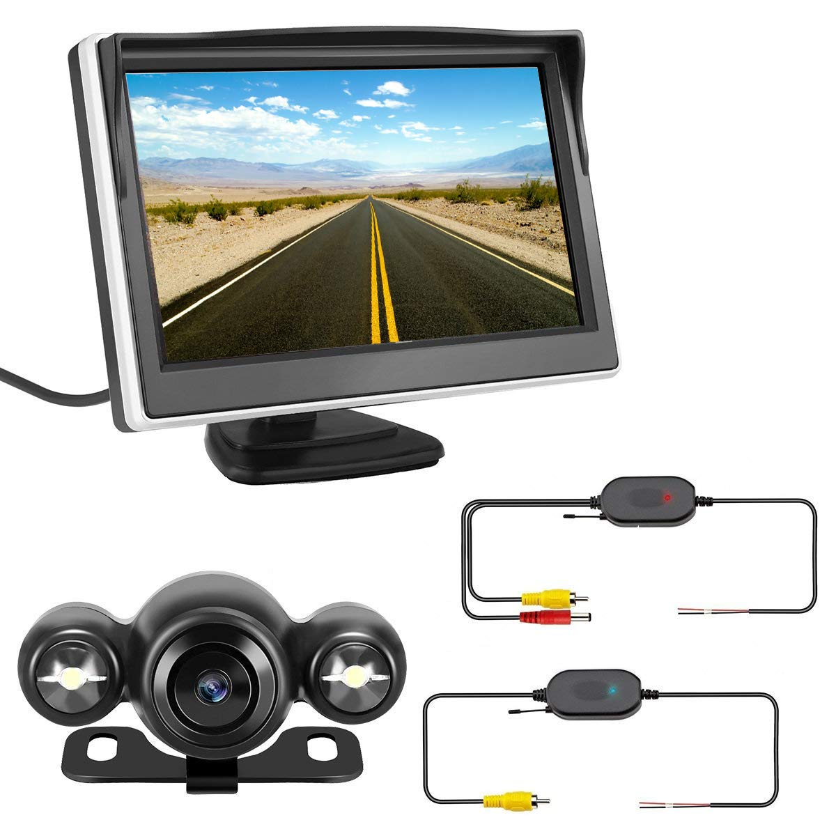 Backup Camera and Wireless Monitor Kit,Rear View Wireless Car Camera System with 5'' Color HD LCD Monitor Tvird Waterproof Night Vision 170°Wide Angle Viewing Parking System