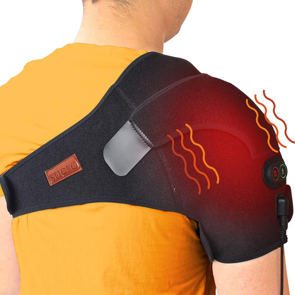 sticro Shoulder Massage Heating Pad, 3 Vibration & Temperature Setting, Low Voltage Heated Brace Wrap for Dislocated/Frozen Shoulder, Arthritis, Rotator Cuff Bursitis Pain Relief Hot Therapy by sticro