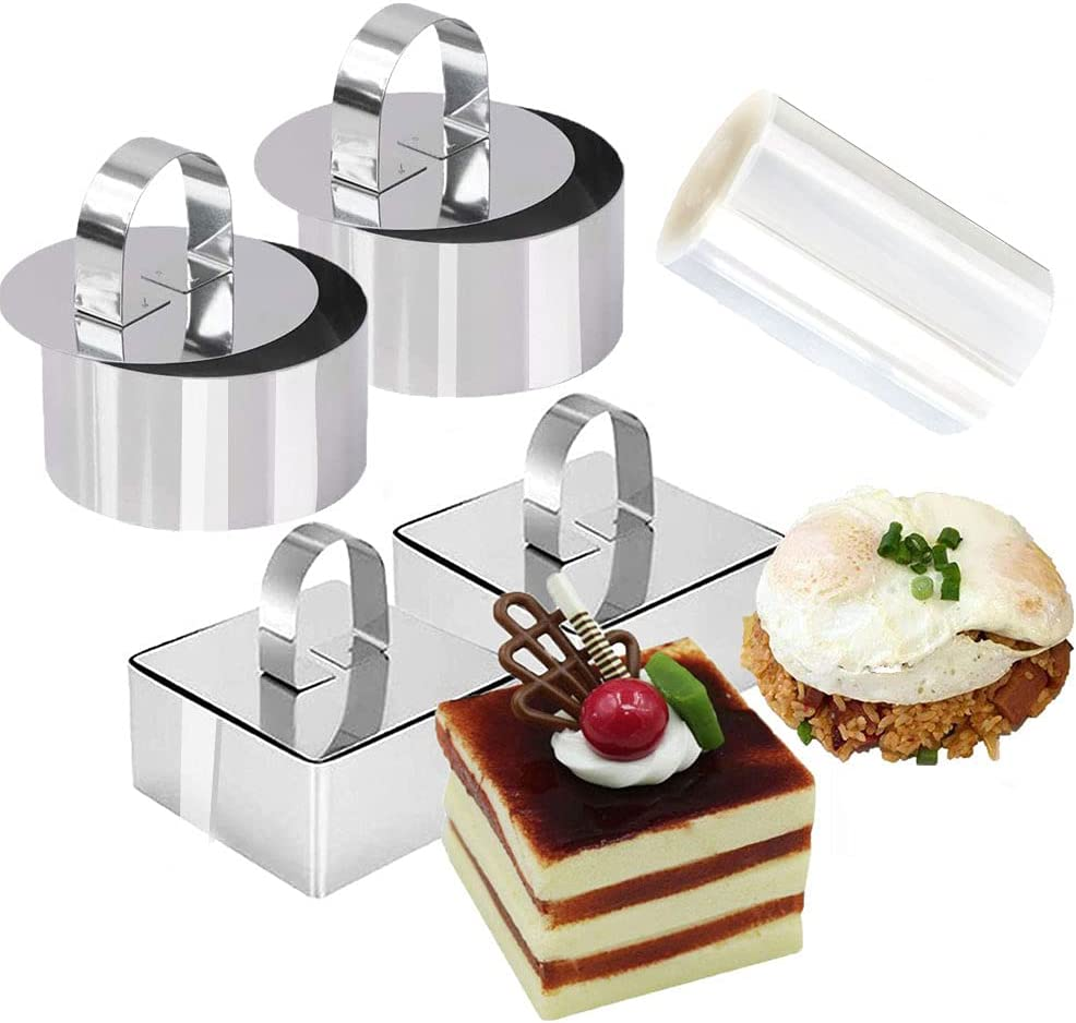 9Pack 3.15'' Food Presentation Rings with 3Inch Cake Collars Stainless Steel Round Square Cake Rings Mold with Cooking Pressers, Transparent Acetate Sheet Cake Rolls for Baking Pastry, Mousse Cake