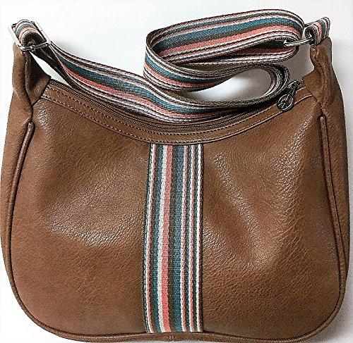 Bungalow 360 Original Vegan Leather Striped Hobo Bag (Nutmeg) by bungalow 360 (Image #4)