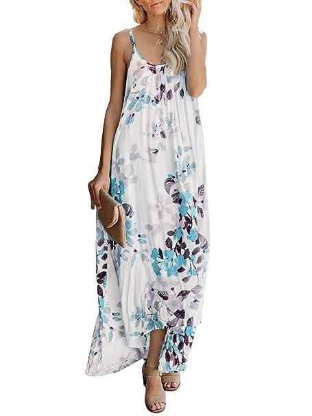 531d0ba5e902 Umeko Womens Floral Strap Lace Up V Neck Flowy Boho Beach Party Long Dresses  (Small