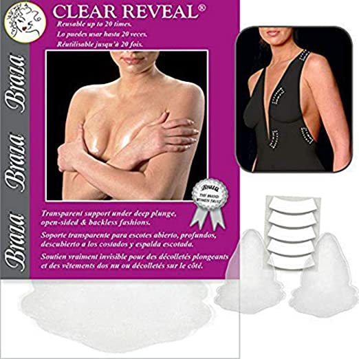 13a0336464 Amazon.com  Braza Reveal - Clear Adhesive Bra One Size  Clothing