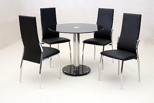 HGG 5 pc cristal negro mesa de comedor redonda con 4 x negro ...