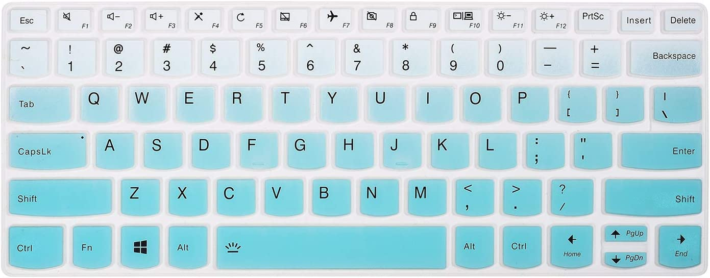 "Keyboard Cover Skins Compatible with 13.3"" Lenovo Yoga 730 720 720S & 13.9"" Yoga C940 C930 920 & 14"" Lenovo Flex 14 & 12.5"" Yoga 720 & 14"" Yoga C740 & Ideapad 720s 13"" 14""(Ombre Hot Blue)"