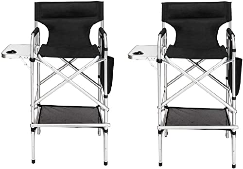 Mefeir 2 PCS 31 Tall Upgraded Director Makeup Artist Chair Bar Height, Aluminum Frame Supports 300 lbs, Folding Portable with Side Table Storage Bag Black,33.8 L x 19.2 W x 45.6 H
