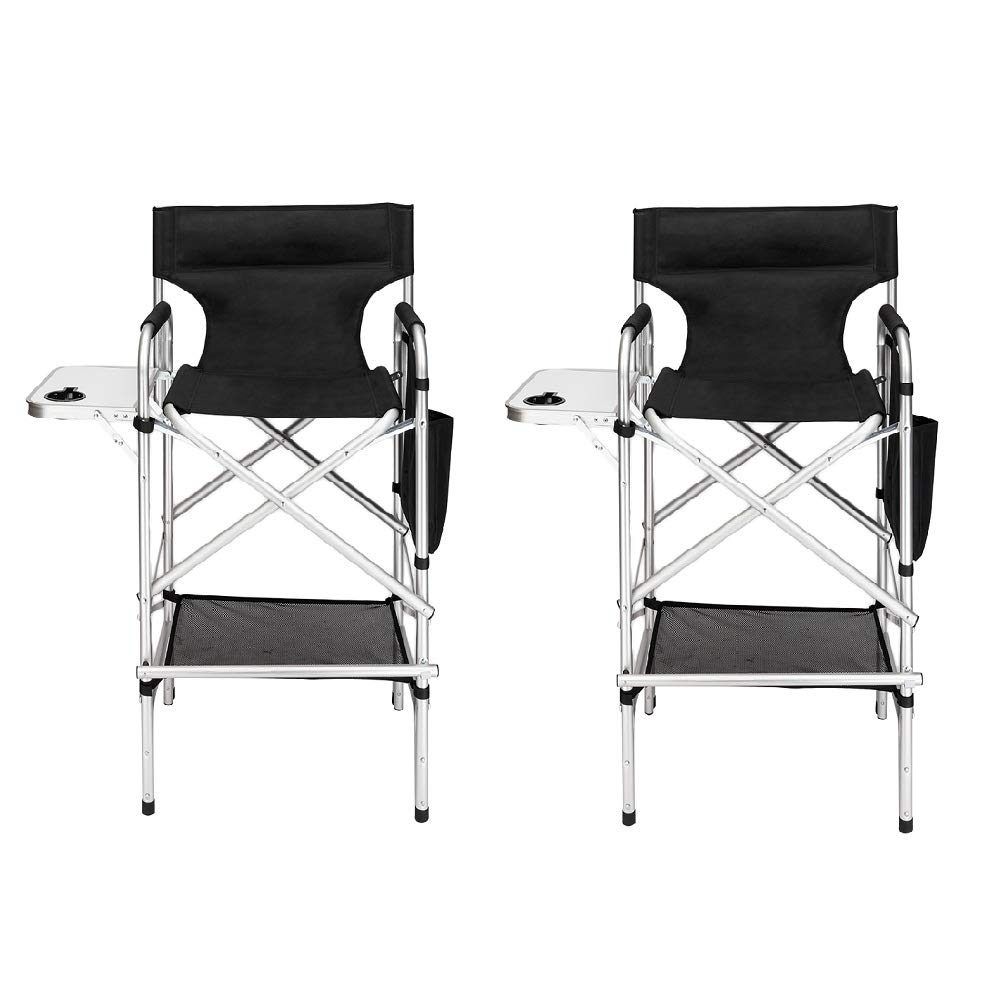 Mefeir 2PCS Upgraded Director Makeup Artist Chair Bar Height, Aluminum Frame Supports 300 lbs, Folding Portable with Side Table Storage Bag Black