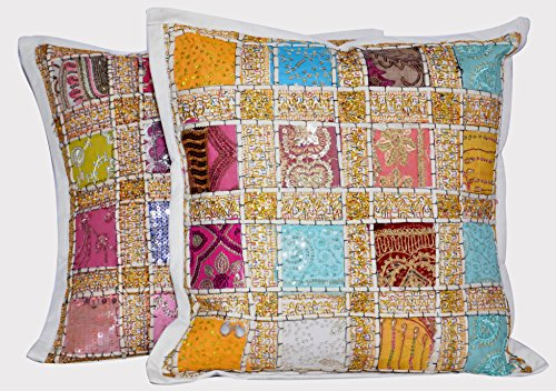 ANJANIYA 2 Embroidery Sequin Cushion Cover 16x16 inches Indian Boho Hippie Patchwork Throw Pillow Cushion Cover Decorative Bohemian Pillows Cotton Hand Embroidered Pillow Cases (White)