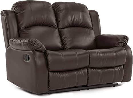 Divano Roma Furniture Classic Loveseat Bonded Leather 2 Seater Recliner Sofa Brown Furniture Decor