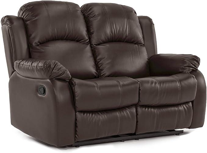 Divano Roma Furniture Classic Loveseat Bonded Leather-2 Seater Recliner Sofa