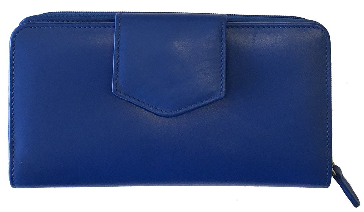 Cobalt Blue RFID Leather Checkbook Wallet