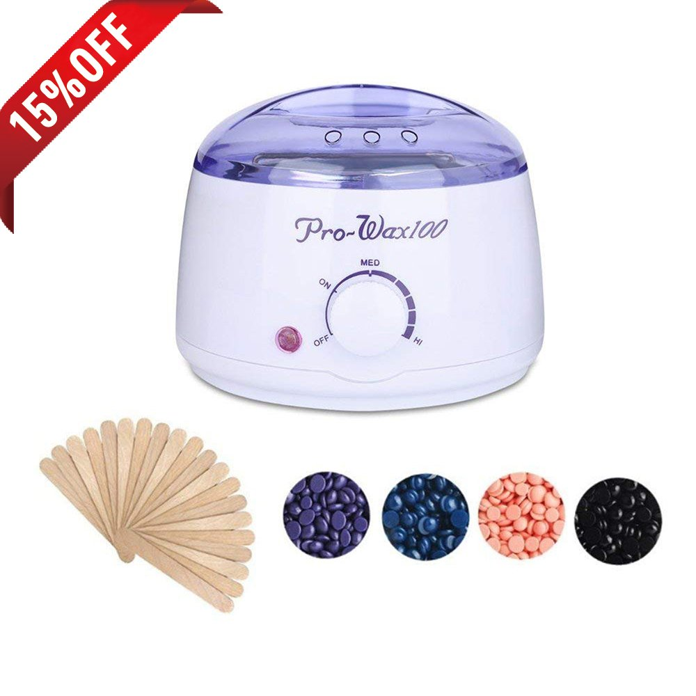 Waxing Warmer Kit, FOXTSPORT Professional Electric Hair Removal Waxing Wax Heater Melting Pot with 4 Bags Hard Wax Beans and Wiping Sticks (Lavender, Chamomile,Rose,Nature)