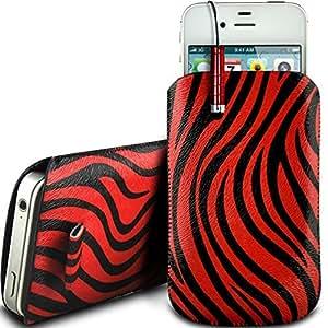 Online-Gadgets UK - Alcatel One Touch T'Pop de cuero protectora de la PU Zebra Diseño Tire de la lengüeta de deslizamiento de pana en bolsa de la caja con cierre rápido y Mini Stylus Pen - Rojo