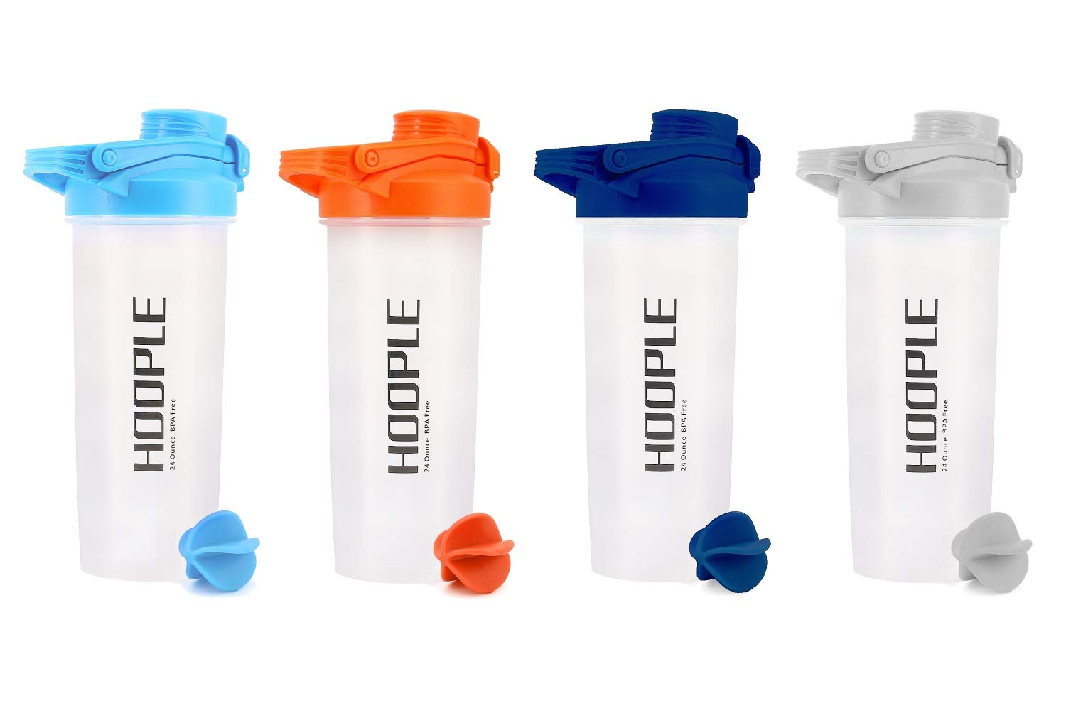 Hoople Shaker Protein Mixing Bottle Cups Powder Blender Smoothie Shakes Mixes Locking Flip Top Water Bottle with Handle and Ball - 24 Ounces 4332488772