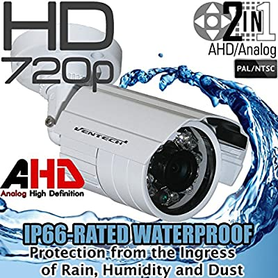 Ventech HD 1.0MP 720P AHD Bullet Security Camera outdoor 2.8mm wide angle Lens 24 IR LEDs ICR Auto Day Night Video Surveillance Work with Analog and AHD DVRs