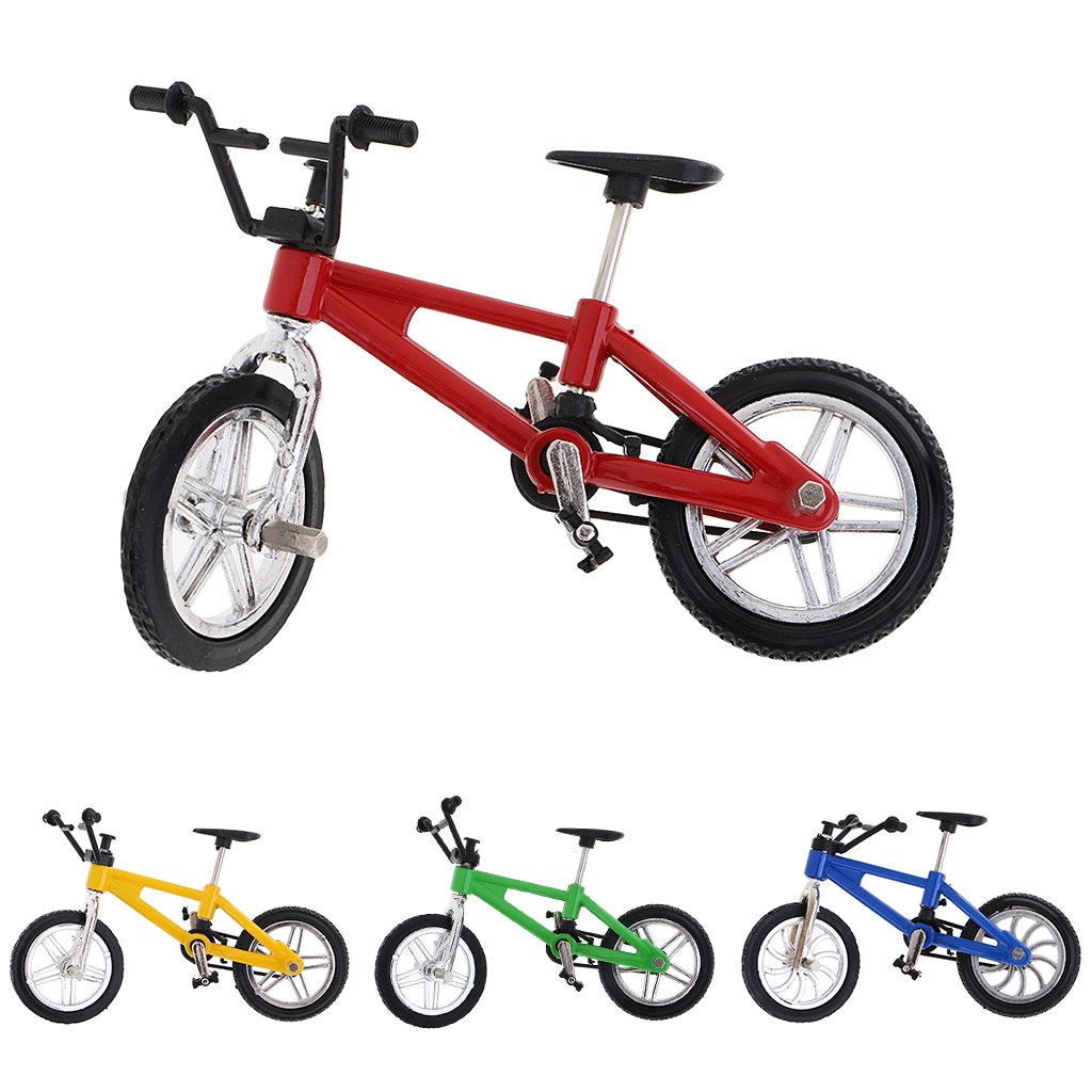 Dovewill Cool Finger Mountain Bike Miniature Metal Bicycle Model Creative Game for Children Kids Gift Red