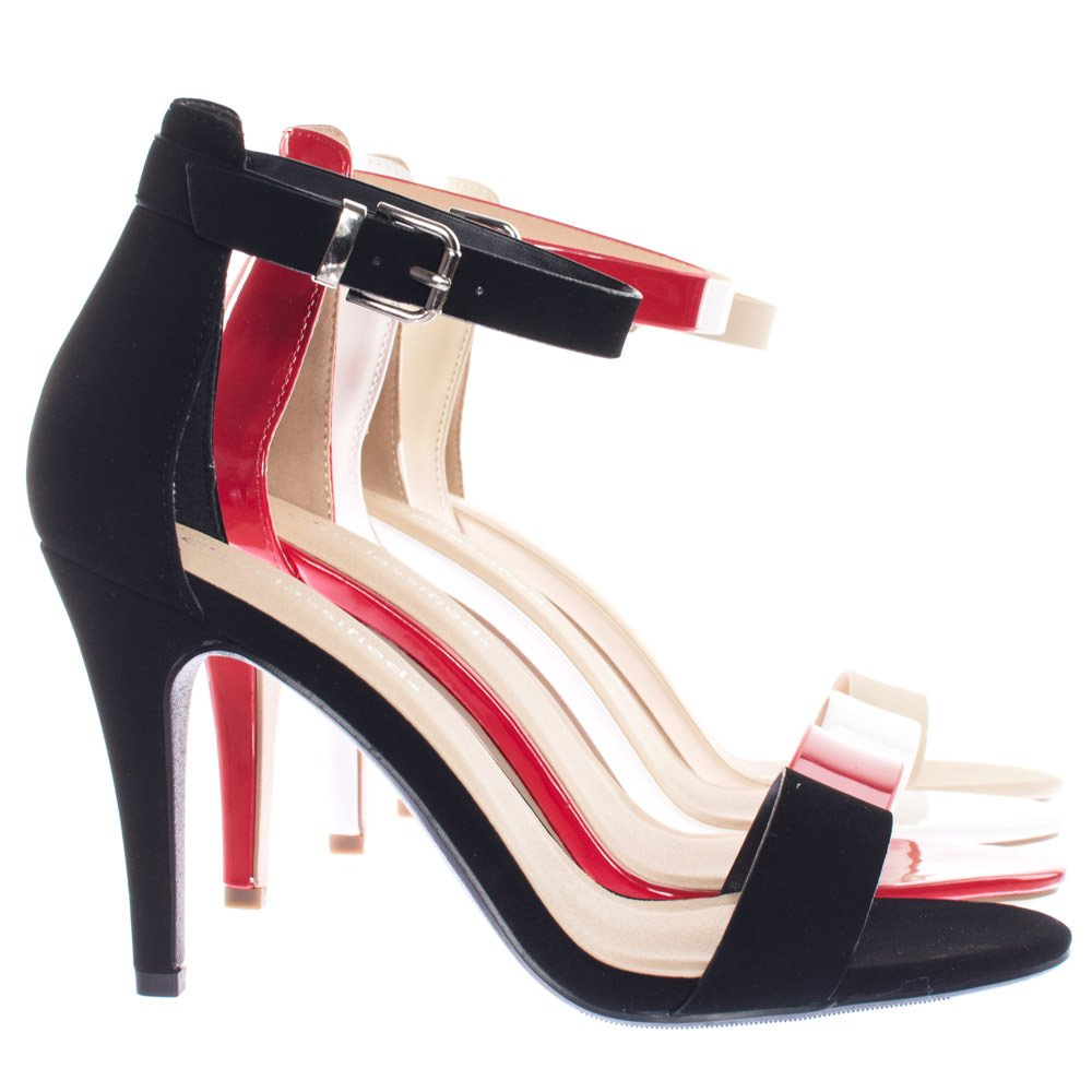 Classic Open Toe Pump Single Band Dress Heel Sandal with Ankle Strap