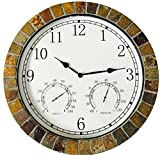 Danny's World® Real Textured Ceramic Rock Tile 15 Inch Indoor/outdoor Clock with Temperature, Time, and Humidity - Arabic Numerals