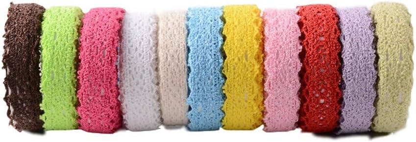 Random Colors RayLineDo 10PCS Cotton Trim Ribbon Lace Self-Adhesive DIY Lace Decorative Tape Lace for Craft Decoration