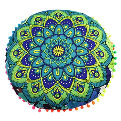 Sothread Mandala Floor Pillows Round Bohemian Meditation Cushion Cover Ottoman Pouf 80x80 (F). (Cushions Floor For Sale)