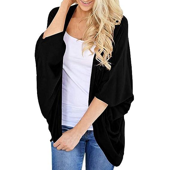 Chaqueta Camisa de Gasa Mujeres, LANSKIRT Mujer Color Sólido Kimono Cardigan Abrigo Mangas Sueltas Camisa de Gasa Camiseta Blusa: Amazon.es: Ropa y ...