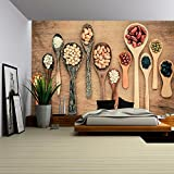 large wooden spoon wall decor - wall26 - Assortment of Beans and Lentils in Wooden Spoon on Teak Wood Background. - Removable Wall Mural | Self-adhesive Large Wallpaper - 100x144 inches