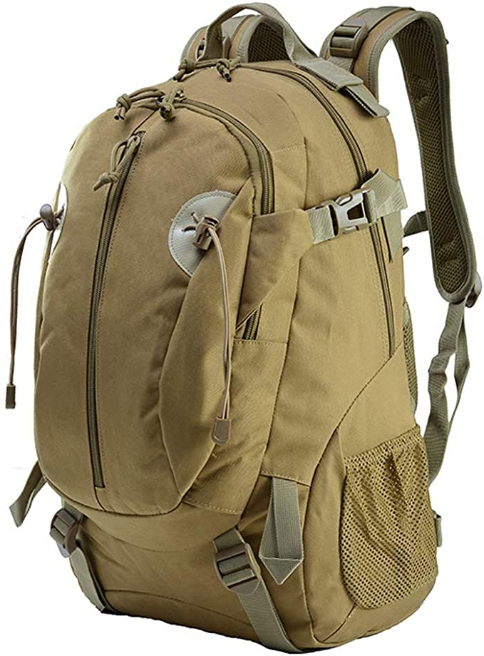 A photo of a brown backpack with one long vertical zipper on the center