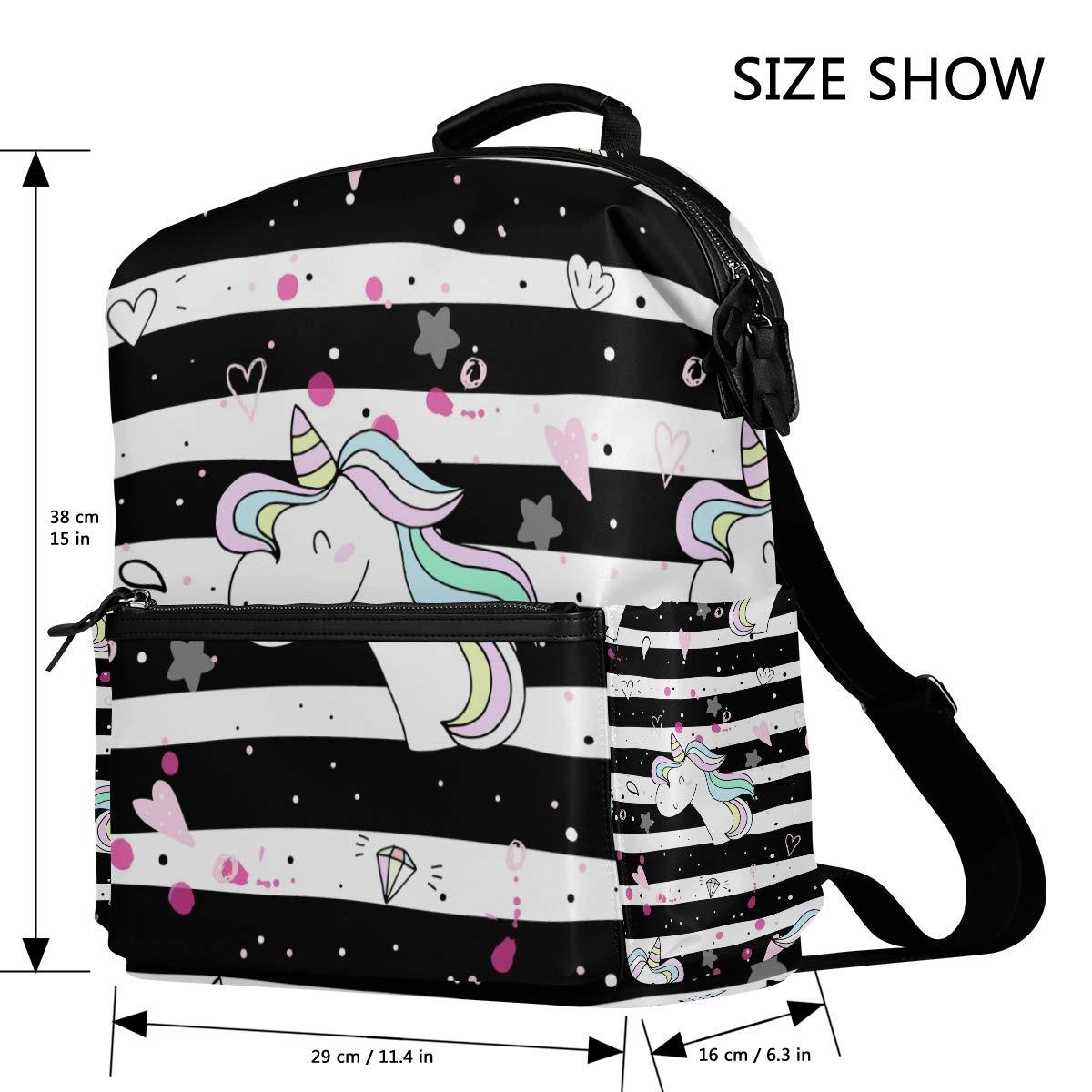 TIZORAX TIZORAX TIZORAX - Mochila Escolar, diseño de Unicornio con Texto Love On Negro Blanco Stripes 6118dd