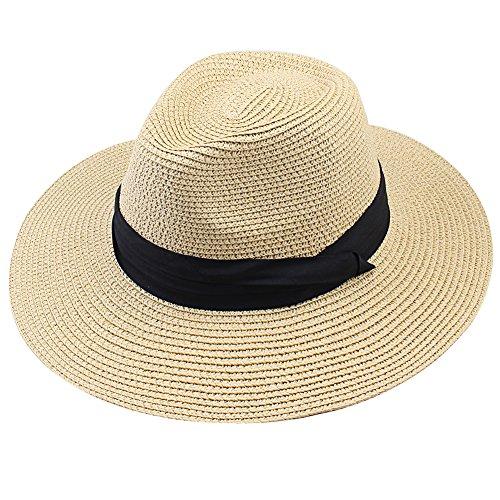 FURTALK Women Wide Brim Straw Roll up Hat Fedora Beach Sun Hat UPF50+ Packable Straw Jazz Panama Cap for Women Men