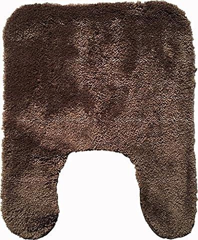 Mohawk Home Ashton Saxony Plush Bath Rug 20-Inch by 24-Inch Contour, Brown (Bathroom Rugs Contour)