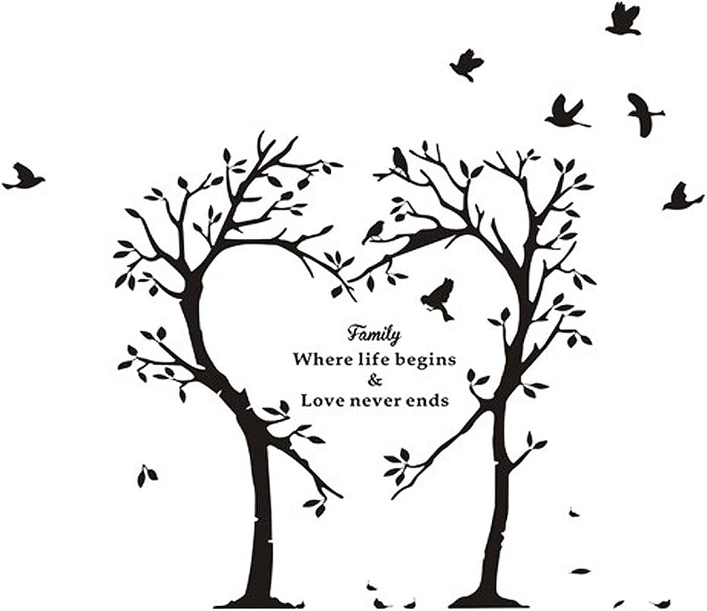 BooDecal Nature Series Heart Tree Quote Wall Decal Mural Sticker Decor for Nursery Bedroom Living Room 39 inches x 35 inches