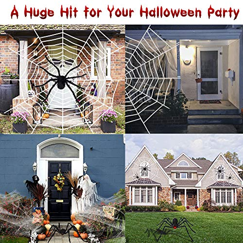 6.6FT Giant Spider Halloween Decorations with 16ft Huge Spider Web, 200sqft StretchySpiderCobweb and20pcsSmallPlasticSpiders for Halloween Creepy Decor Indoor, Outdoor, Party, Bedroom, Window , Wall, Yard