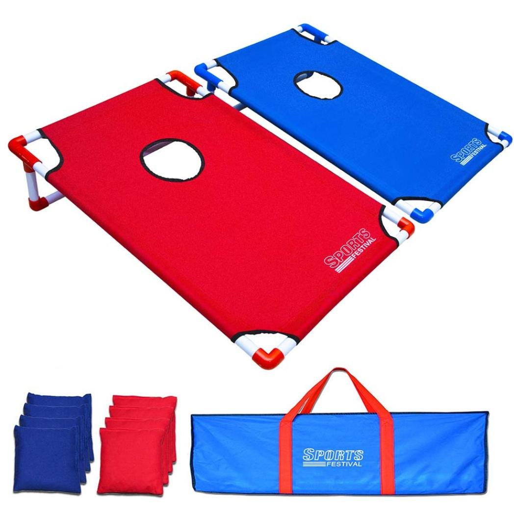 Hohaski Portable PVC Framed Cornhole Game Set with 8 Bean Bags and Travel Carrying Case - Choose American Flag Design or Classic Red & Blue by Hohaski