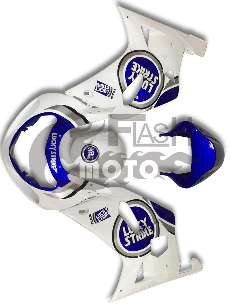 FlashMoto suzuki 鈴木 スズキ GSX R600 R750 2001 2002 2003用フェアリング 塗装済 オートバイ用射出成型ABS樹脂ボディワークのフェアリングキットセット (ホワイト,ブルー)   B07MNGVL7R