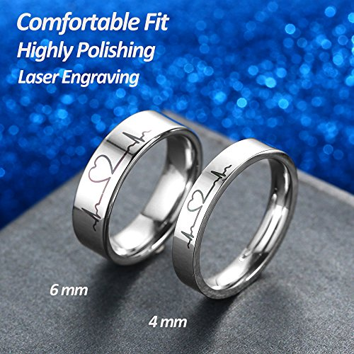 GAGAFEEL 6mm Men Women Wedding Ring Heartbeat Titanium High Polished Promise Band Rings Edge Comfort Fit (6mm, 5)